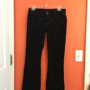 Black low-rise corduroy flare pants